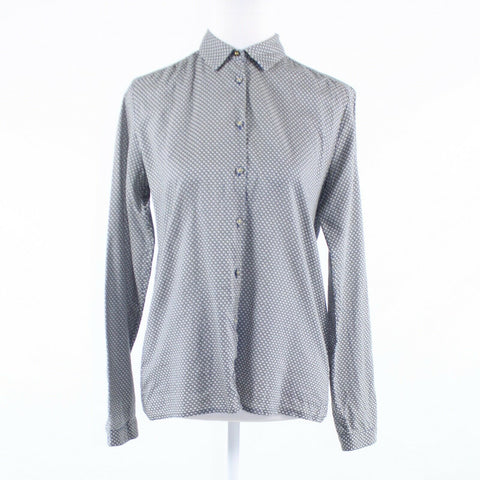 Gray white pique 100% cotton MARC O'POLO long sleeve button down blouse GR36 8