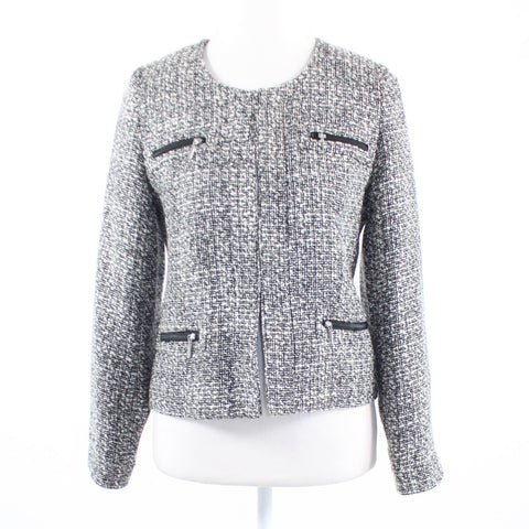 Black white textured tweed SOFT SURROUNDINGS long sleeve blazer jacket XS