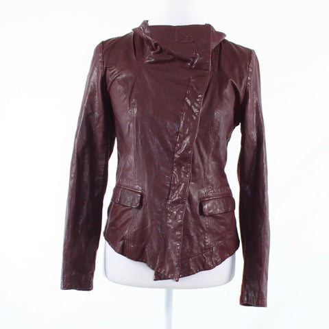 Maroon red leather 040 long sleeve motorcycle jacket S