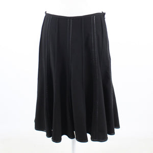 Black stretch KATHERINE BARCLAY satin and pintucked trim A-line skirt 10