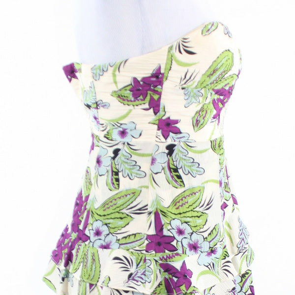Ivory purple floral print 100% silk ANTHROPOLOGIE NANETTE LEPORE tiered dress 2-Newish