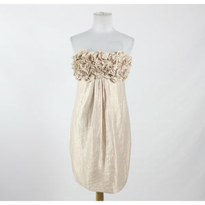 ALEXIA ADMOR ivory rayon strapless above knee shimmery ruffled bodice dress S-Newish