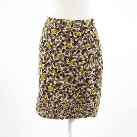 Cream brown floral print 100% cotton BODEN stretch pencil skirt 4L