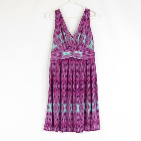 Orchid purple sea foam green ikat IVY and BLU stretch A-line dress 6
