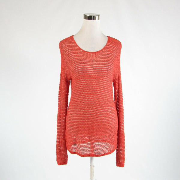 Orange ivory TOMMY BAHAMA long sleeve crewneck crochet knit sweater S
