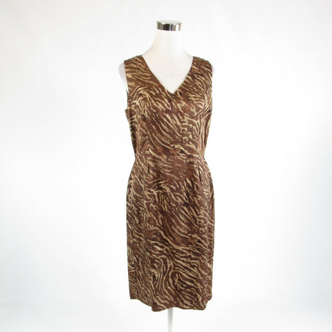 Khaki brown zebra BANANA REPUBLIC stretch sleeveless sheath dress 10