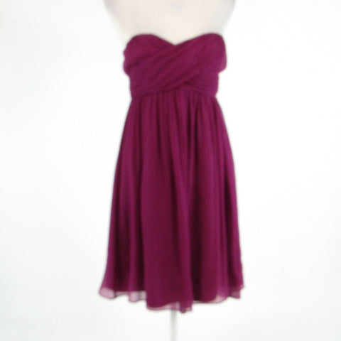 Eggplant purple 100% silk J. CREW sheer overlay sleeveless empire waist dress 2-Newish