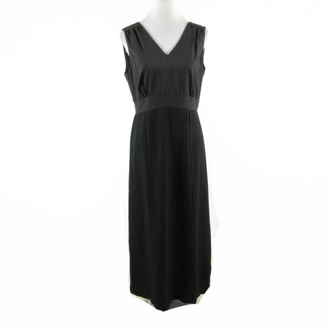 Gray black pinstripe HALSTON sleeveless maxi dress 8