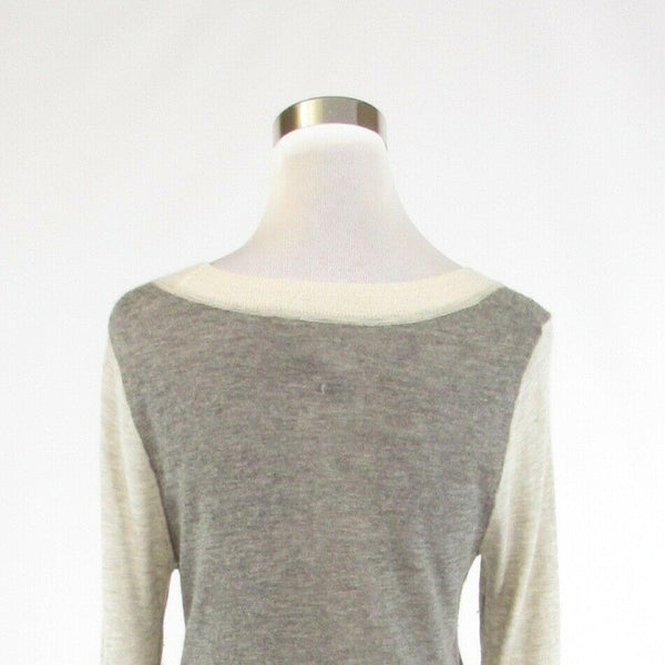 Heather gray color block BANANA REPUBLIC long sleeve scoop neck sweater M