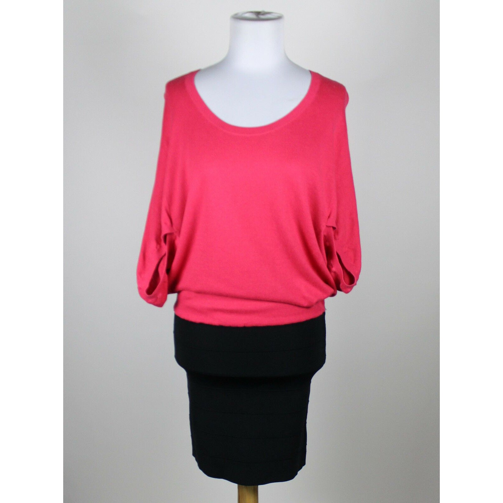 BCBGENERATION pink black cotton blend knit top & stretchy skirt blouson dress S-Newish