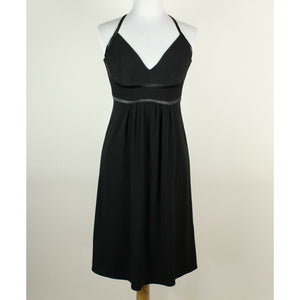 MOLLY black empire waist spaghetti strap knee-length black satin trim dress 4-Newish