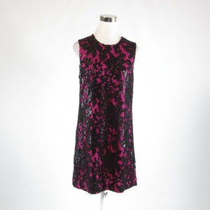 Dark pink black abstract lace DIANE VON FURSTENBERG sleeveless sheath dress M
