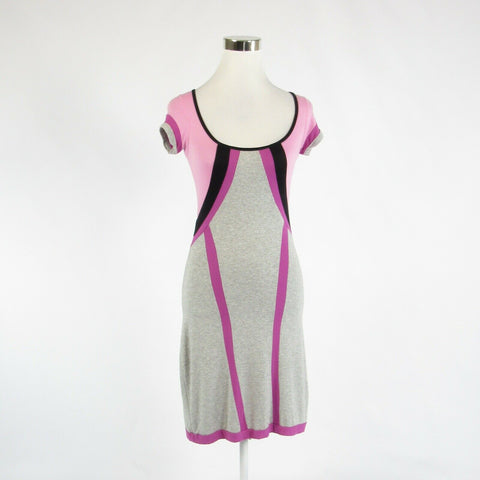 Heather gray pink color block REBECCA BEESON stretch short sleeve sheath dress 0-Newish