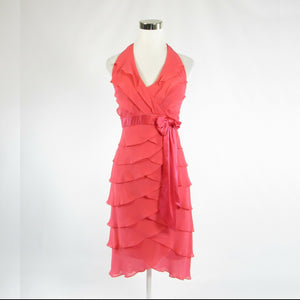 Coral orange TADASHI Lillie Rubin sheer overlay halter neck tiered dress XS