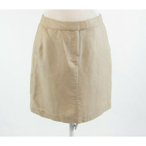 Beige linen blend CYNTHIA ROWLEY shimmery A-line skirt 4