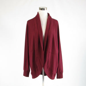 Maroon red cotton blend BANANA REPUBLIC long batwing sleeve jacket L