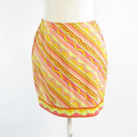 Mustard yellow pink diagonal striped 100% cotton EMILIO PUCCI pencil skirt S
