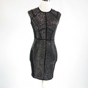 Black silver REBECCA TAYLOR sequin trim stretch sleeveless sheath dress XS