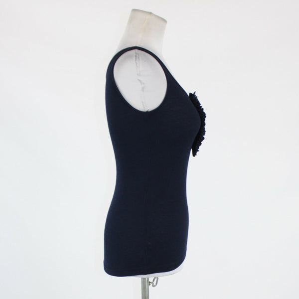 Blue cotton blend ANN TAYLOR LOFT PETITES ribbed tank blouse PXS