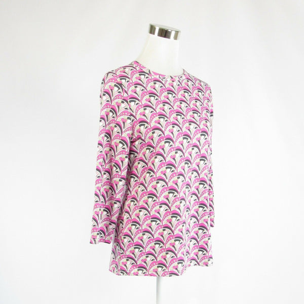 Pink white geometric BARBARA GERWIT stretch 3/4 sleeve tunic blouse L-Newish