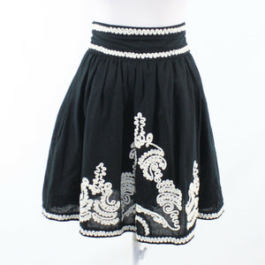 Black white paisley linen blend FRENCH CONNECTION full skirt 0