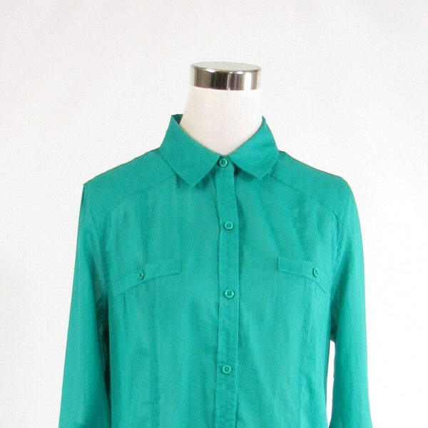 Teal green CHICO'S semi-sheer long sleeve button down blouse 1 S 8-Newish