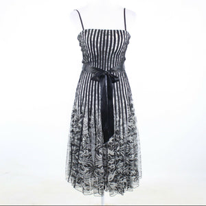 Black white striped sheer overlay CACHE spaghetti strap A-line dress 2 30-Newish