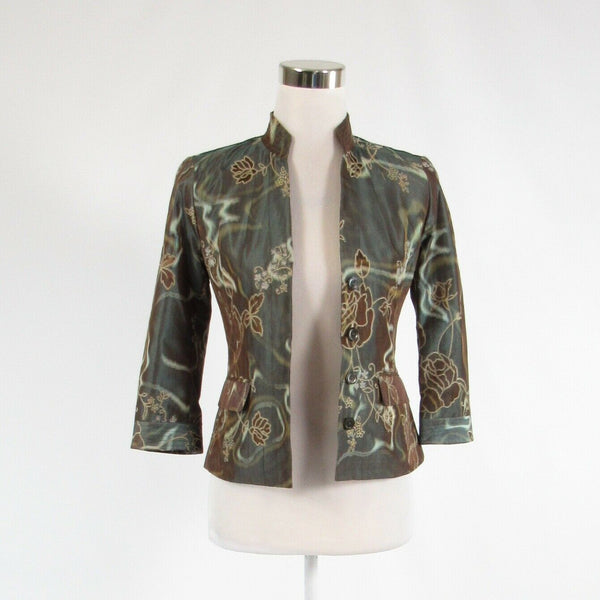 Gray brown floral print WORTH open front 3/4 sleeve blazer jacket 0P-Newish