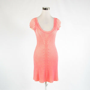 Bright pink ivory striped 100% cotton FREE PEOPLE cap sleeve sweater dress XS-Newish