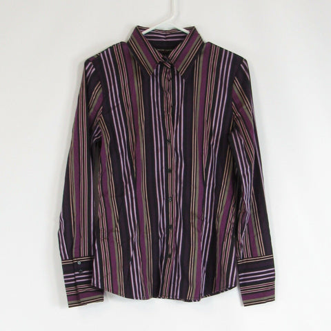 Black purple NEW YORK and COMPANY button down blouse M