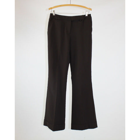 Dark brown stretch cuffed hem NEW YORK and COMPANY extended tab dress pants 6T