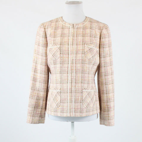 Beige ivory plaid LANDS' END blazer jacket 12P