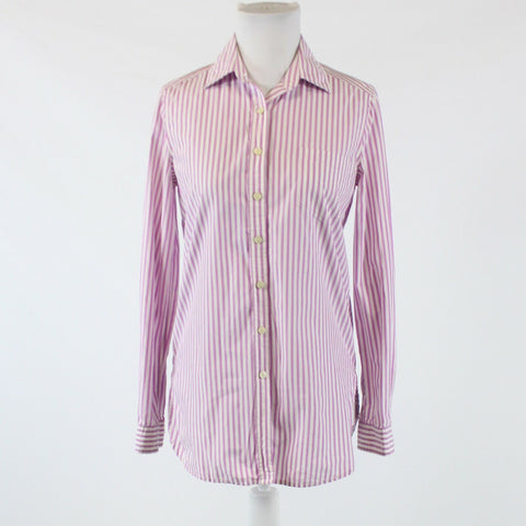 Purple white striped 100% cotton MODA INTERNATIONAL button down blouse XS