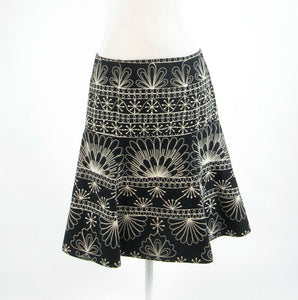 Black ivory 100% cotton ANTHROPOLOGIE NANETTE LEPORE embroidered A-line skirt 6