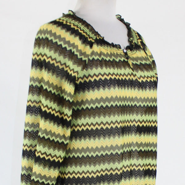 Black green yellow zig zag NEW DIRECTIONS 3/4 sleeve keyhole semi-sheer blouse S