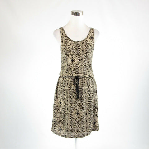 Black beige tribal LUCKY BRAND beaded trim stretch sleeveless A-line dress XS