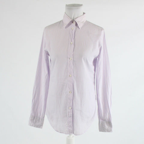 White purple striped 100% cotton GAP long sleeve fitted button down blouse 4