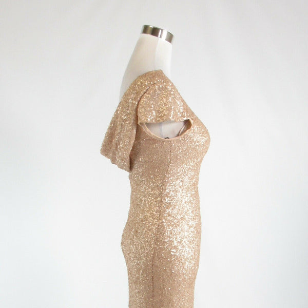 Beige SORELLA VITA sequin shimmery stretch cap sleeve ball gown dress 6