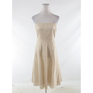 Beige white pinstripe cotton blend J. CREW strapless A-line dress 10