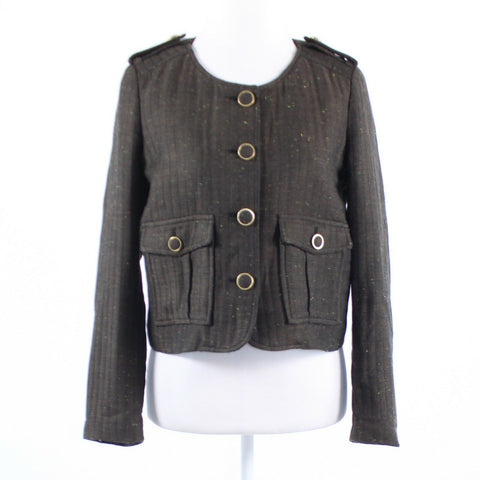 Brown quilted CARTONNIER long sleeve button front jacket M-Newish