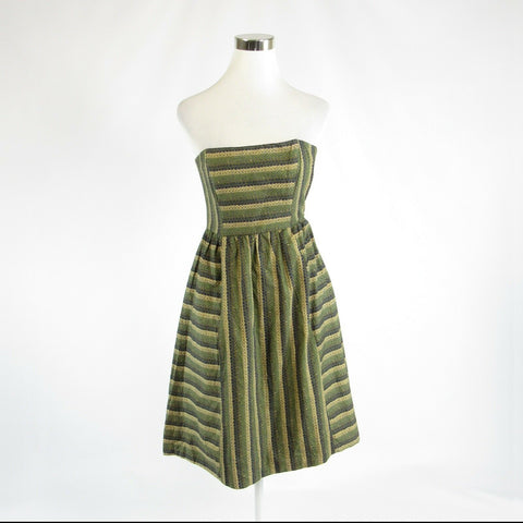 Olive green striped 100% cotton ANTHROPOLOGIE MAPLE strapless A-line dress 4-Newish