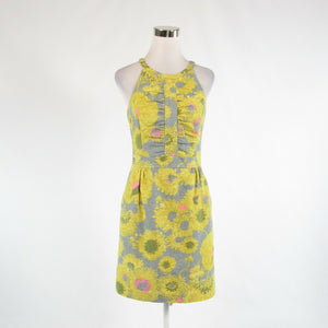 Gray yellow floral print cotton blend BETH BOWLEY halter neck sheath dress 6-Newish