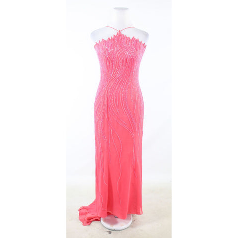 Pink 100% silk ALYCE beaded sheer overlay spaghetti strap ball gown dress 8