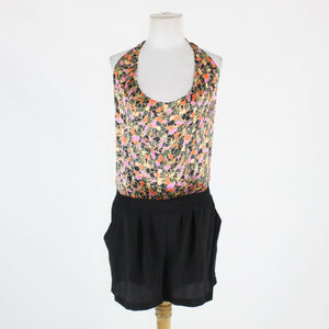 Black ivory pink and orange silk HAVEN halter above knee pleated front romper M-Newish