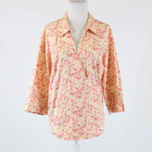 Pink orange geometric stretch cotton blend LANE BRYANT faux wrap blouse 22