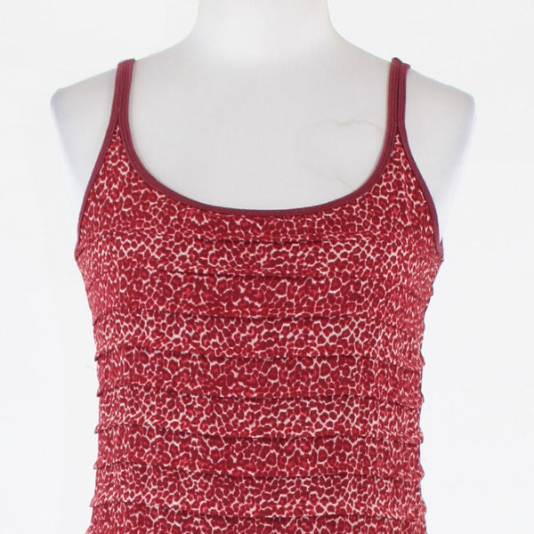 Maroon red white cheetah cotton blend NEW YORK & COMPANY spaghetti strap tank S-Newish