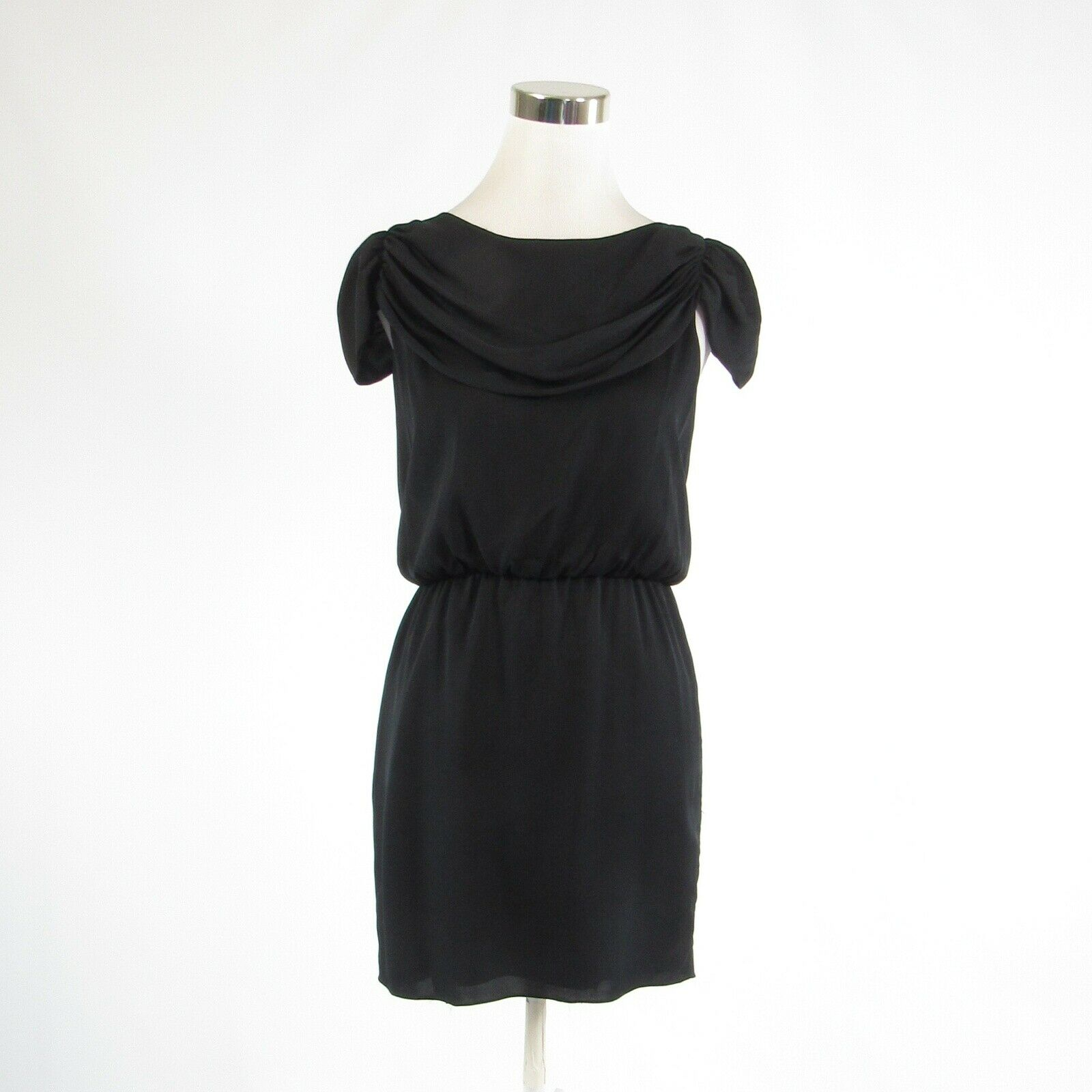 Black silk blend ALICE and OLIVIA stretch cap sleeve sheath dress S-Newish