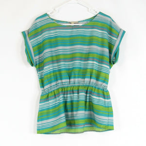 Teal green gray uneven striped BANANA REPUBLIC peplum blouse L