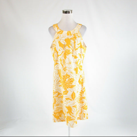 Mustard yellow ivory floral print 100% linen J. MCLAUGHLIN sheath dress 12