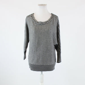 Gray shimmery NEW YORK and COMPANY 3/4 sleeve cable knit trim sweater M